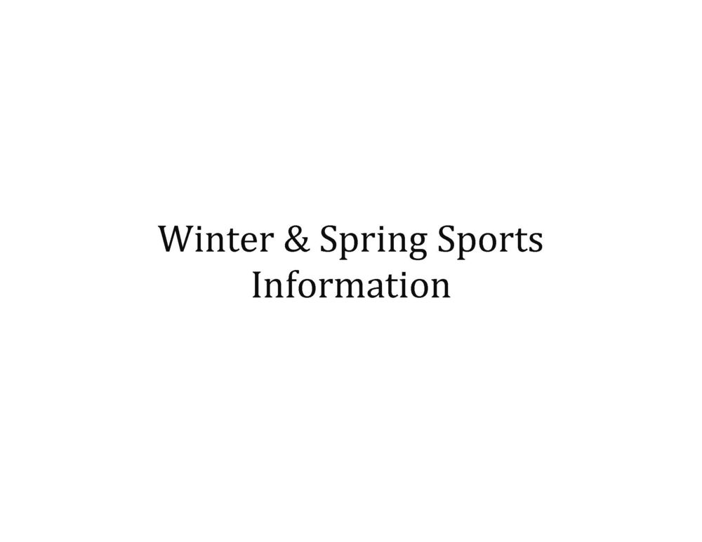 Important Information - Winter and Spring Sports